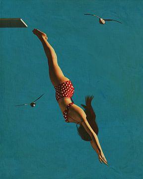Peinture de style rétro d'une fille plongeant dans la mer sur Jan Keteleer