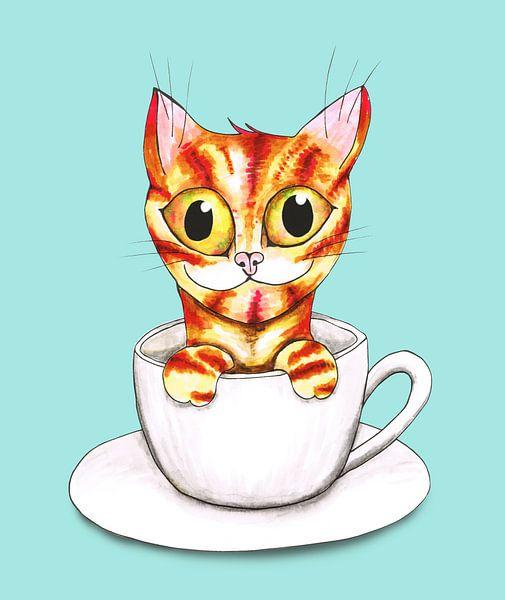 Gestreepte koffie kat van Bianca Wisseloo