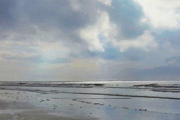 Silhouetten van Surfers in de Zee - Schilderij