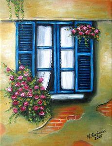 Blauwe bloemen venster zomergevoel