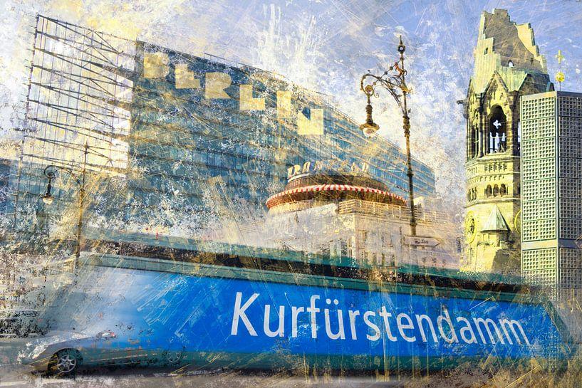 City-Art BERLIN Kurfürstendamm Collage van Melanie Viola