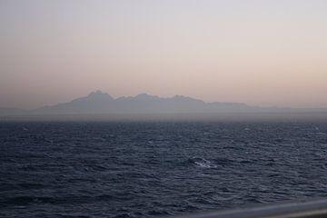 Zandstorm afrika vanaf zee van