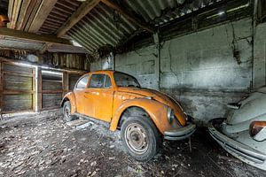 Orangefarbener Volkswagen Käfer