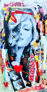 Marilyn Monroe en Kat van Kathleen Artist Fine Art