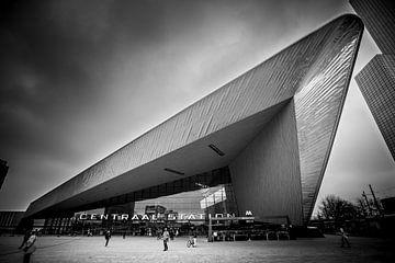 Rotterdam Centraal Station (zwart-wit) van Prachtig Rotterdam