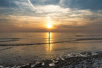 Texel Paal 9 zonsondergang van Waterpieper Fotografie