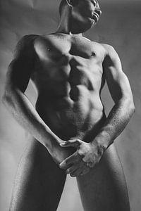 Sehr schöner nackter dunkler Mann. Foto in Schwarzweiß #E9406