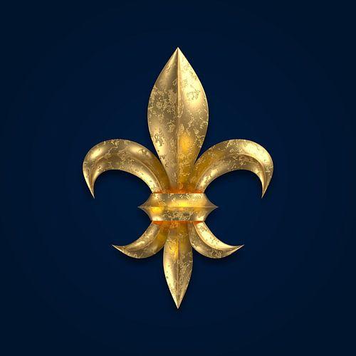 Fleur de Lys / Fleur de Lis golden korrodiert auf blauem Untergrund