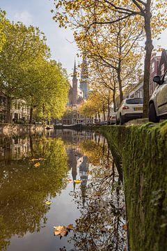 Le long de De Gouwe avec quai vert en automne sur