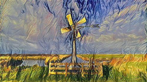 Digitaal schilderij Klassieke Poldermolen
