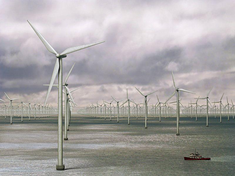 Duizend windmolens op zee - storm op komst van Frans Blok