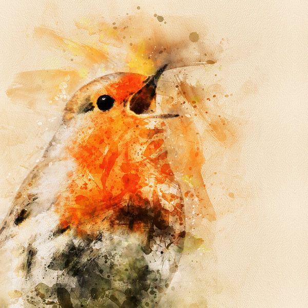 Roodborstje zingt het hoogste lied (waterverf) van Art by Jeronimo