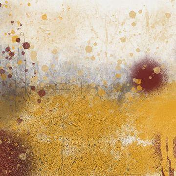 Abstrakte goldene Glühlandschaft von Go van Kampen