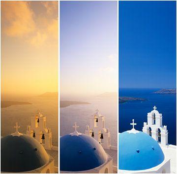 Tryptichon, Kerk over de Egeïsche Zee, Santorini, Cycladen, Griekenland van Markus Lange