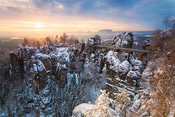 Winterochtend in Saksisch Zwitserland van Daniela Beyer