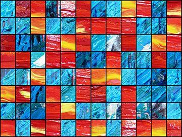 Acrylstruktur in rot und blau van