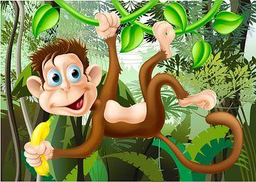 Affe an der Liane im Dschungel von Henny Hagenaars