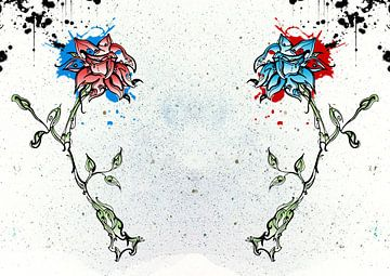 Rote und blaue Blume von Jeroen van der Steen