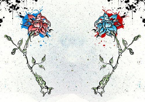 Fleur rouge et bleue sur Jeroen van der Steen