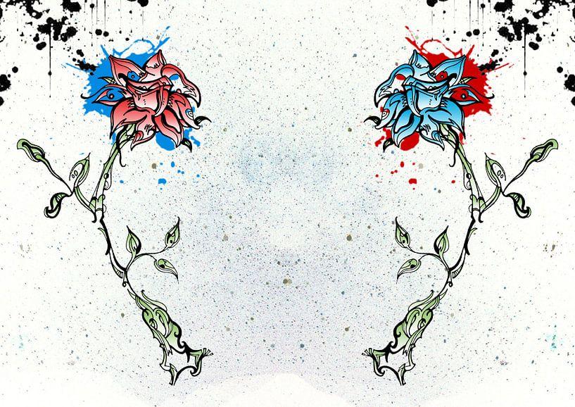 Rode en blauw bloem van Jeroen van der Steen
