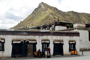 Locals op de Tibetaanse hoogvlakte van