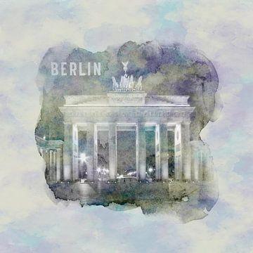 BERLIN Porte de Brandebourg | Style aquarelle sur Melanie Viola