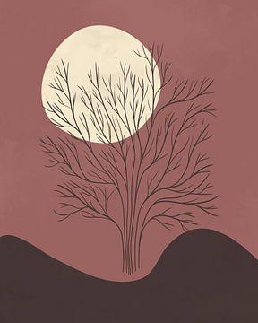 Minimalistisch landschap met een boom in herfstkleuren