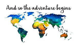 Wereldkaart in Aquarel met Quote - Cool Boven