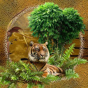 Tigre du Bengale en vert sur Carla van Zomeren