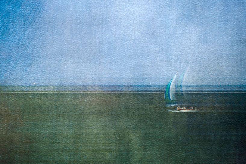 Bateau à voile sur la mer des Wadden sur Greetje van Son