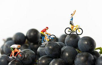 miniatuur poppetjes op fietsen