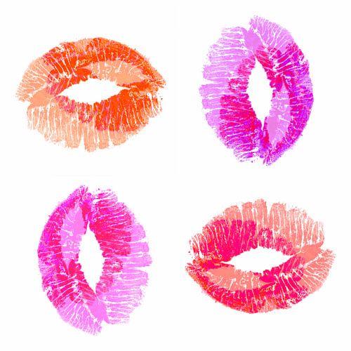 Multi colour Kiss on white double