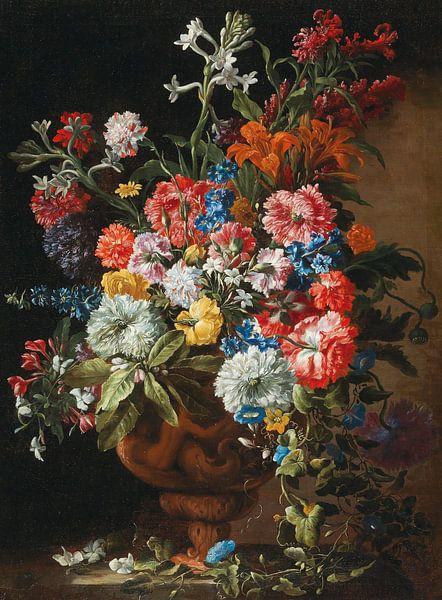 Blumen in einer dekorativen Terrakotta-Vase auf einem Steinsockel, Abraham Brueghel von Meesterlijcke Meesters