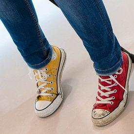 Happy! Yellow and Red Converse sneakers van Arthur Wijnen