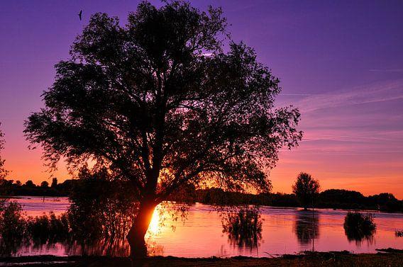 Kleurige zonsondergang bij de IJssel 1 van Arno Wolsink