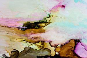Macrofotografie turquoise roze bruin van angelique van Riet