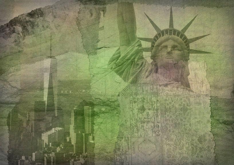 New York city Collage, green (voor andere kleuren zie album collages) van Anita Meis