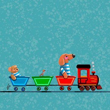 Tiny Teckel Tobie rijdt op een treintje - blauw van Linda van Putten