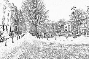 Zwart wit pencil tekening van Amsterdam in de sneeuw
