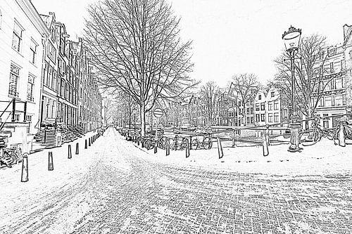 Zwart wit pencil tekening van Amsterdam in de sneeuw van