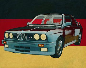 BMW E-30 M3 uit 1991 en Duitse vlag