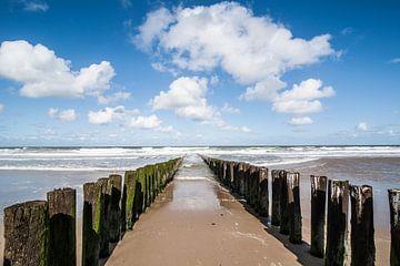 Paalhoofden aan het strand van Domburg van Marianne Rouwendal