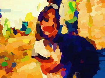 Girl with dog van Judith Robben