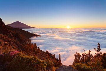Pico del Teide bij zonsondergang, Tenerife, Canarische Eilanden, Spanje van Markus Lange