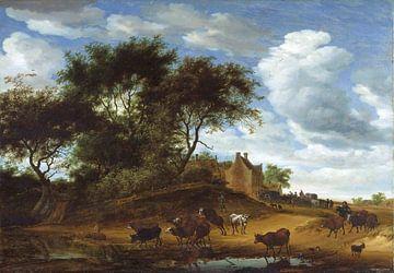 holländische Landschaft mit Vieh und einem Gasthaus, Salomon von Ruysdael von Atelier Liesjes