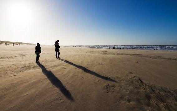 Winderige schaduwen op het strand