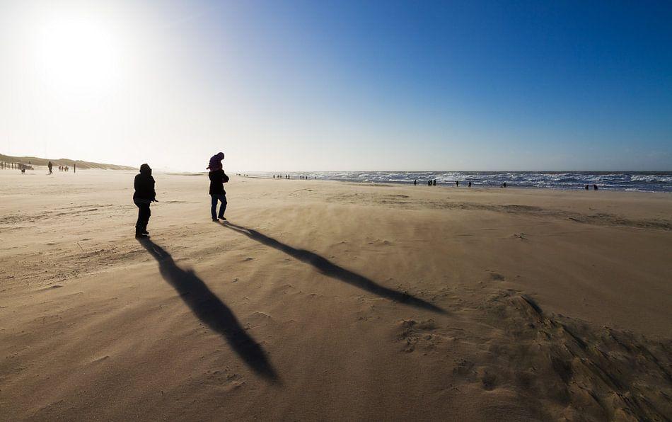 Winderige schaduwen op het strand van Dennis van de Water