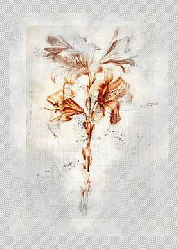Bloemen in tekenstijl 4 van Ariadna de Raadt