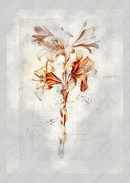 Fleurs dans le style de dessin 4 sur Ariadna de Raadt-Goldberg