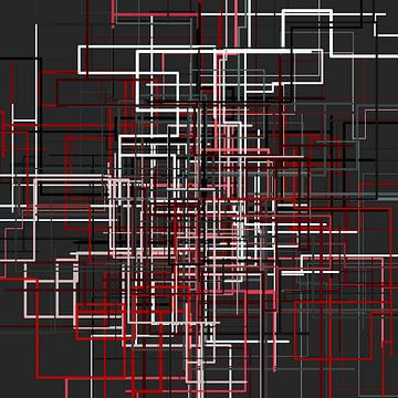 Abstracte lijn netto 1 kleurig van Jörg Hausmann